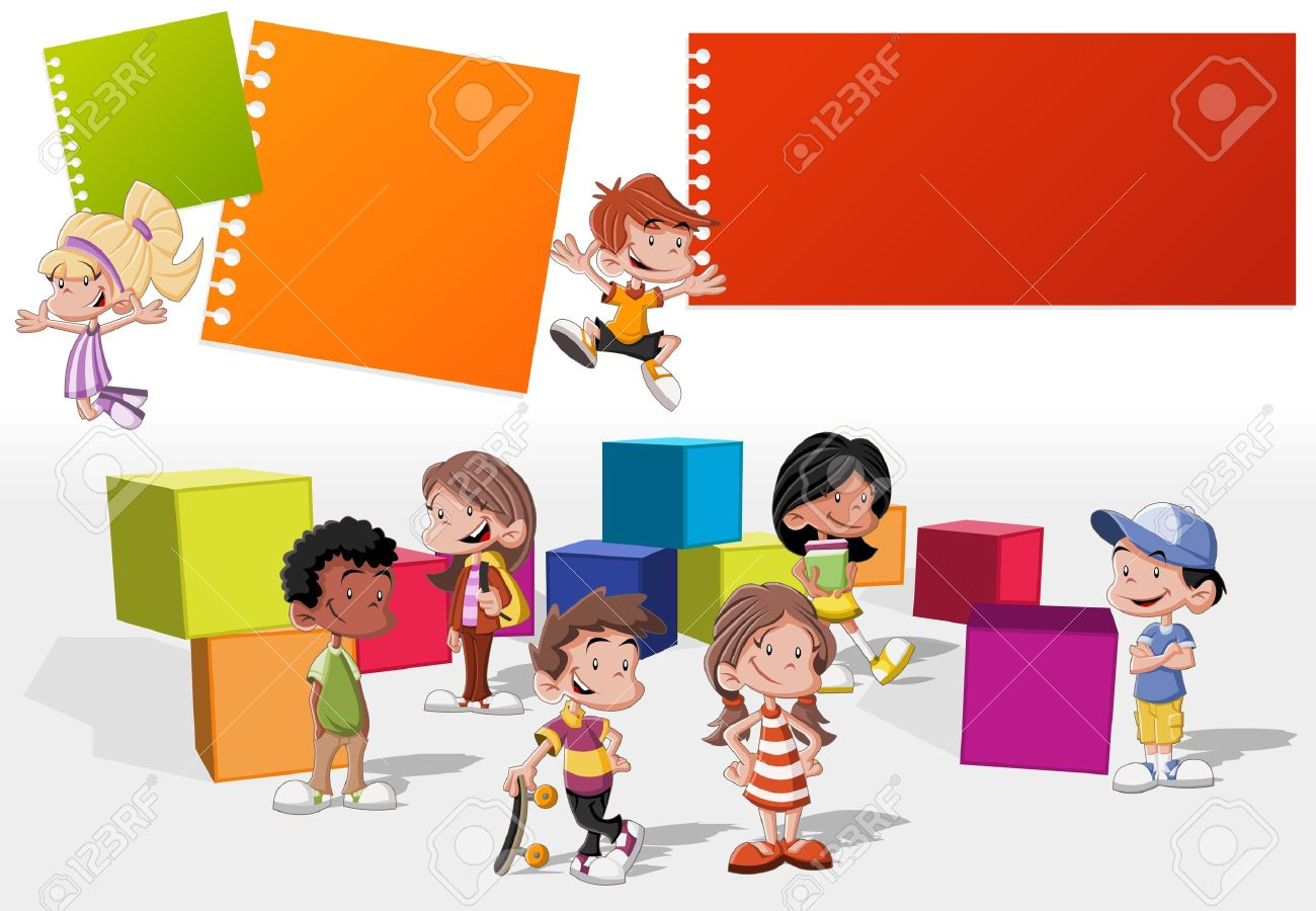Colorful template for advertising brochure with a group of cute happy cartoon kids playing Stock Vector - 16904457