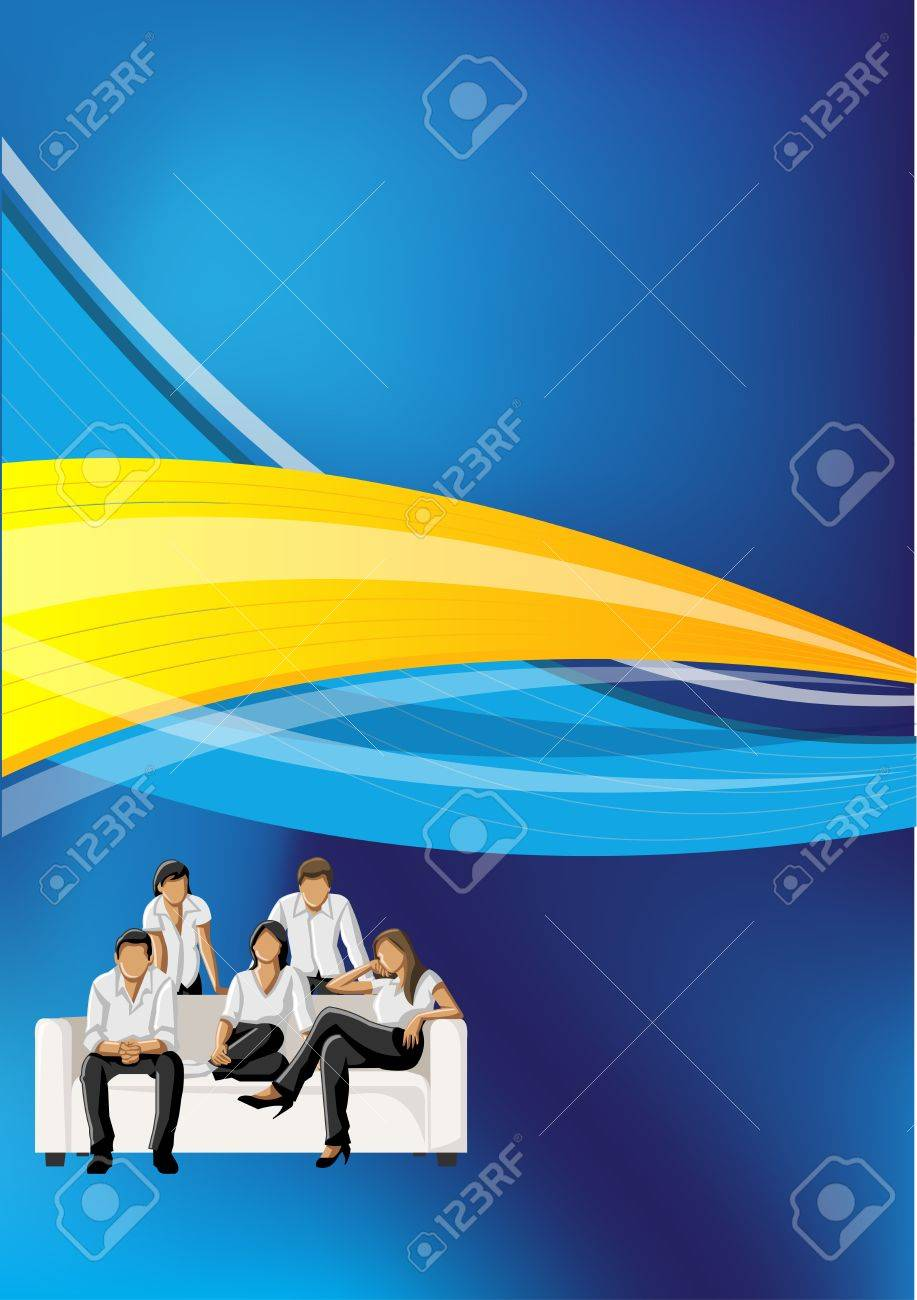 Blue and yellow template for advertising brochure with business people Stock Vector - 16904473