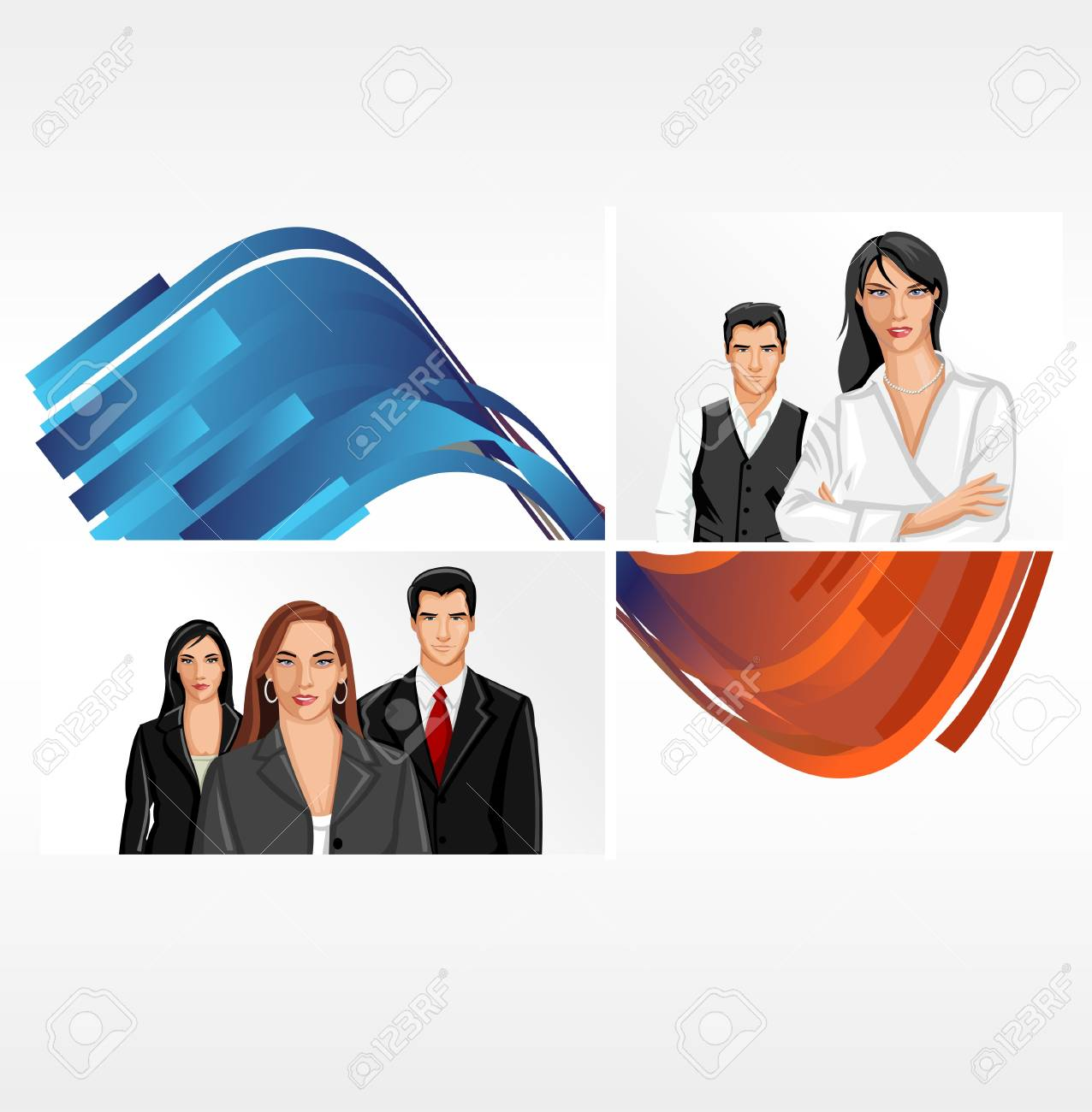 Blue and orange template for advertising brochure with business people Stock Vector - 16904402