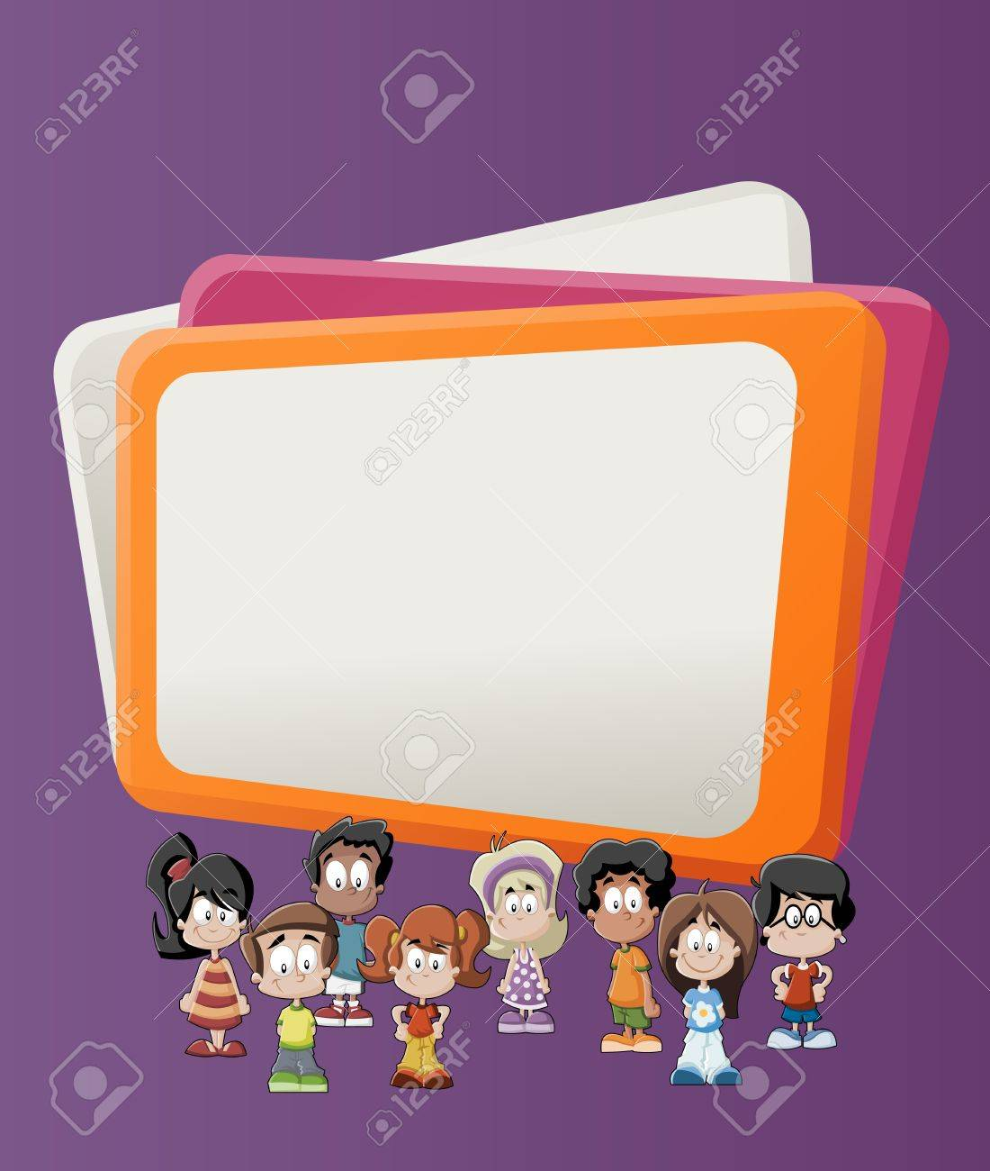 Colorful template for advertising brochure with children Stock Vector - 16918540