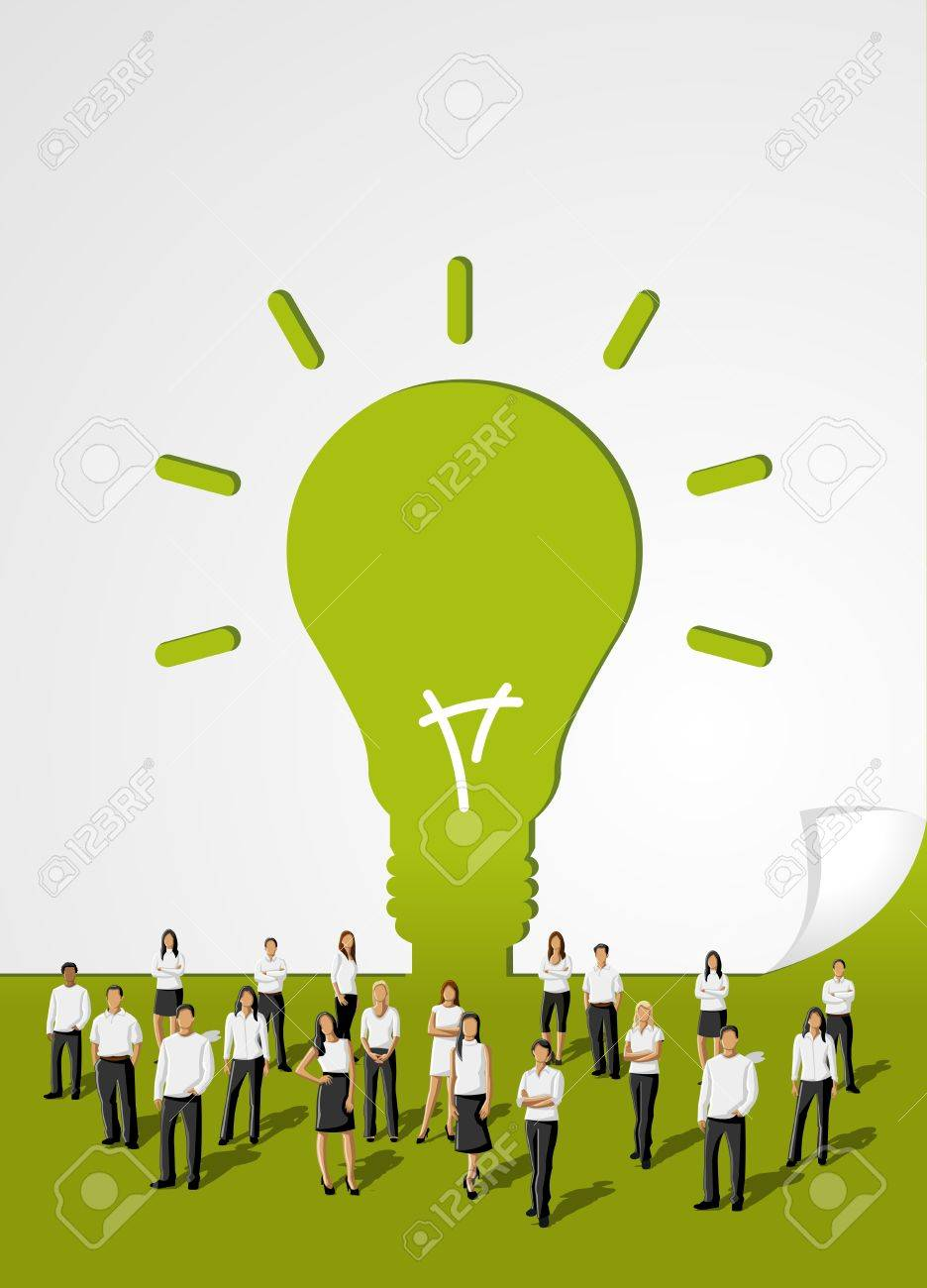 Green template in shape of light bulb idea with business people Stock Vector - 16918578