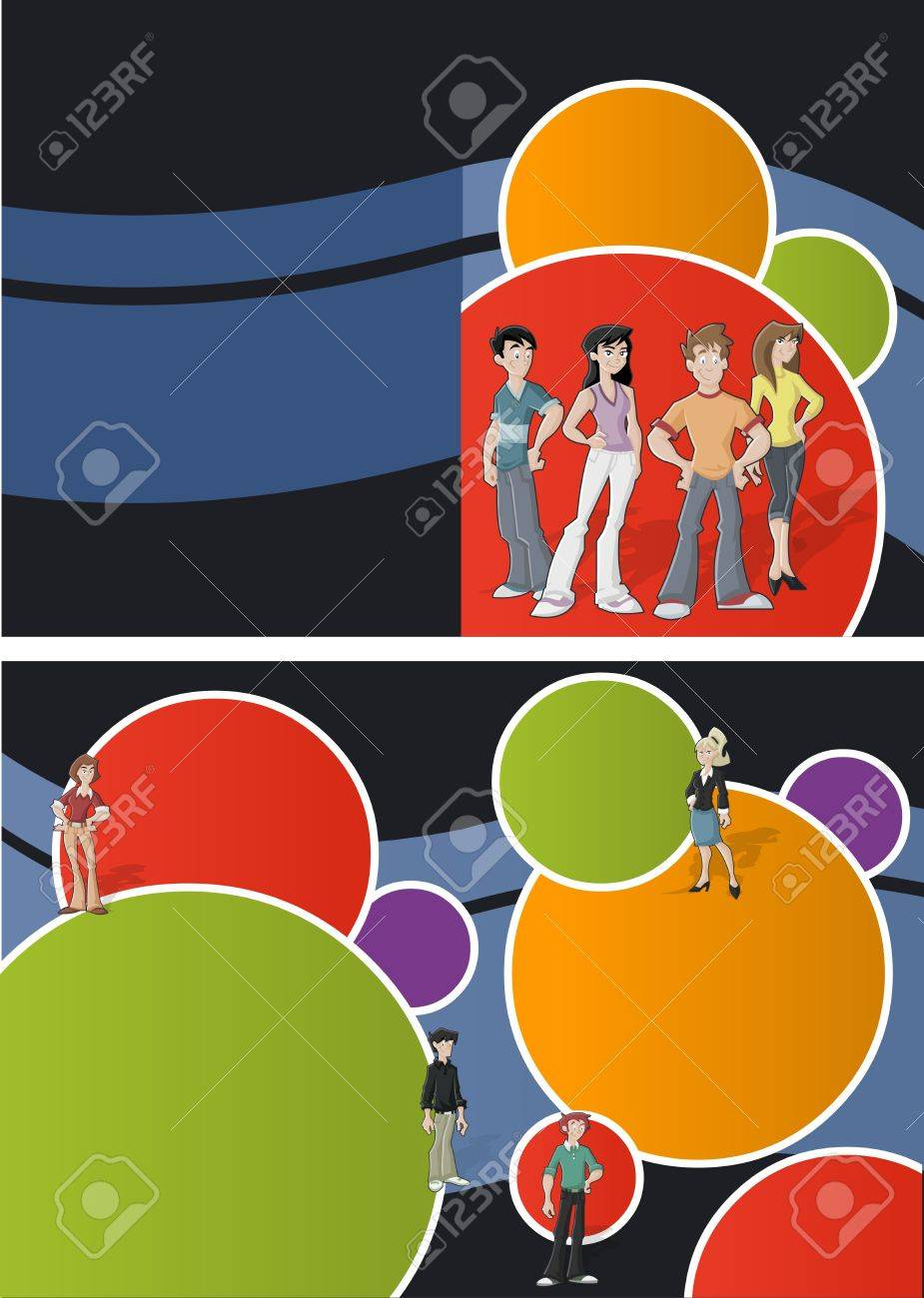 Colorful template for advertising brochure with teenager students Stock Vector - 16918582