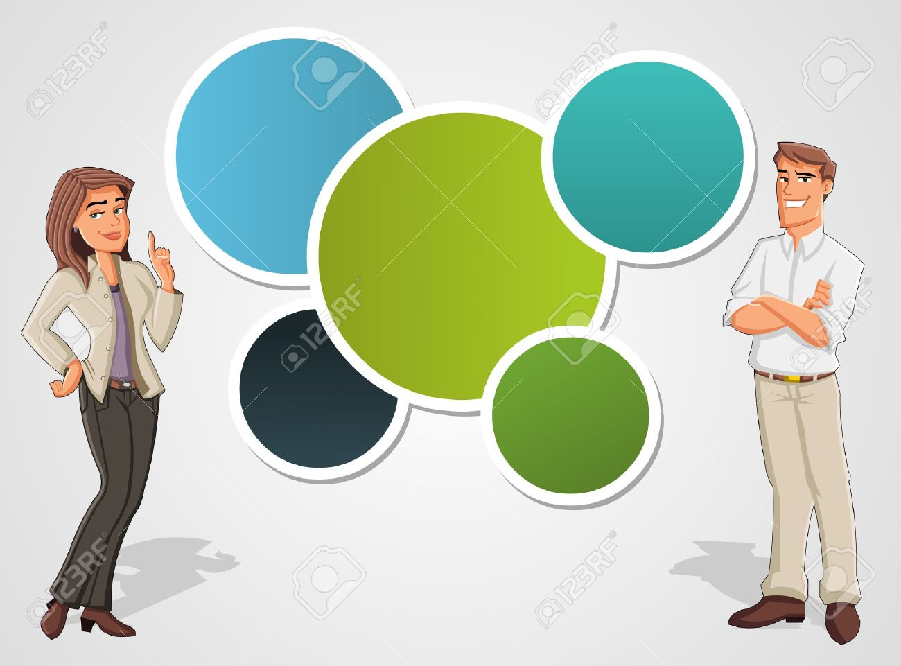 Colorful template with cartoon business man and woman  Presentation screen Stock Vector - 16951588