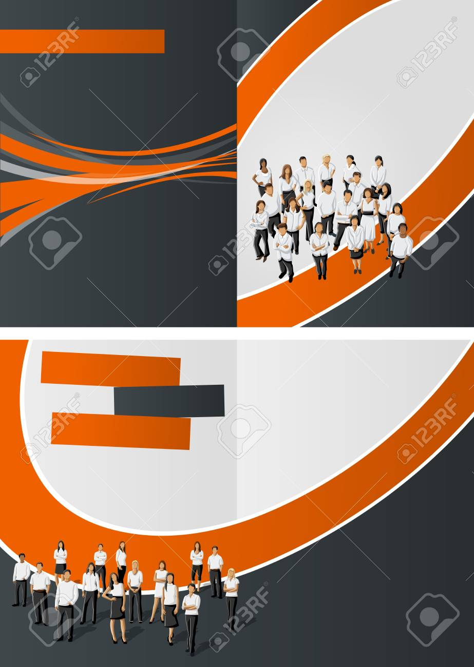 Orange and black template for advertising brochure with business people Stock Vector - 16918609