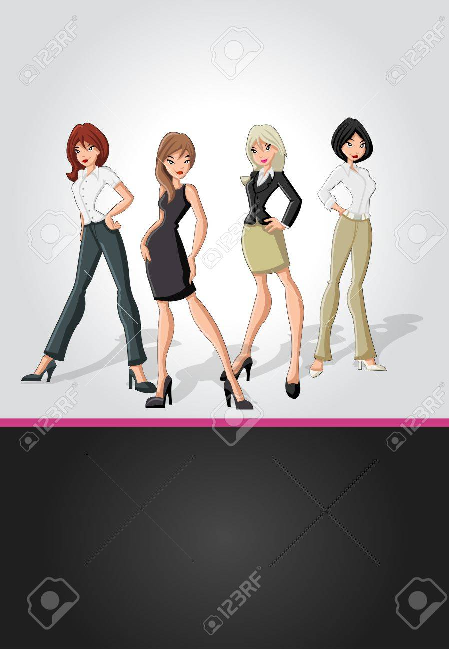 Template for advertising brochure with cartoon business women Stock Vector - 16922644