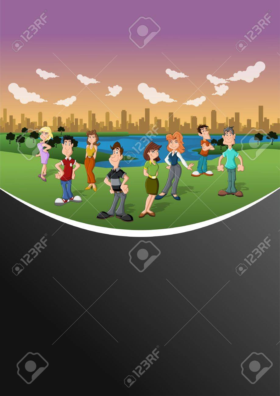 Group happy cartoon people in the city park Stock Vector - 16932928