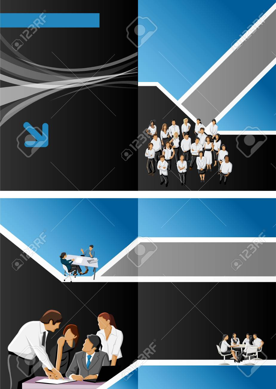 Blue and black template for advertising brochure with business people Stock Vector - 16932925