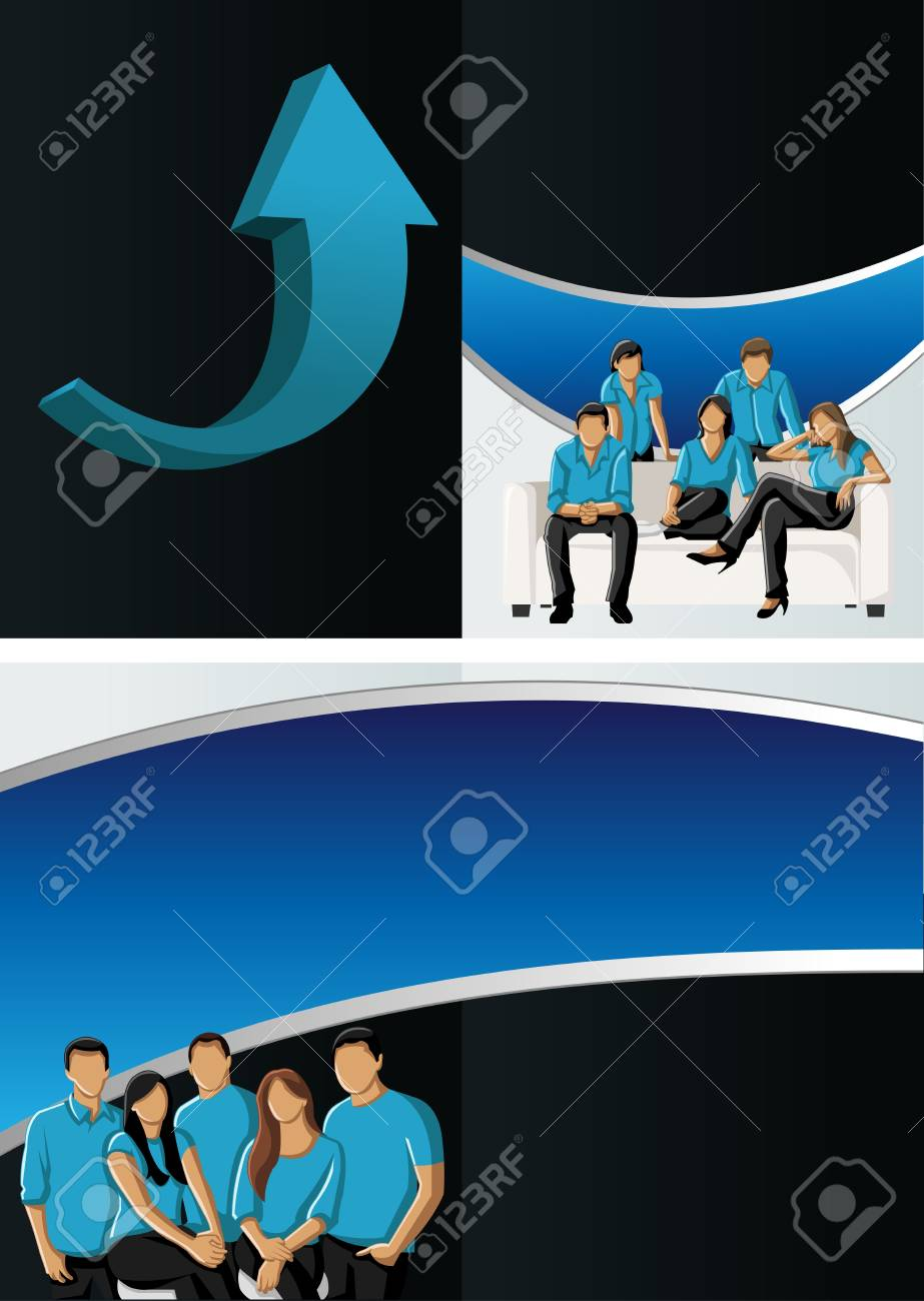 Blue template for advertising brochure with business people Stock Vector - 16932918