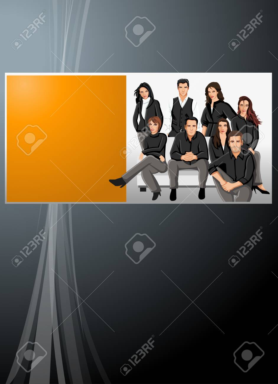 Black and orange template with business people Stock Vector - 16936118