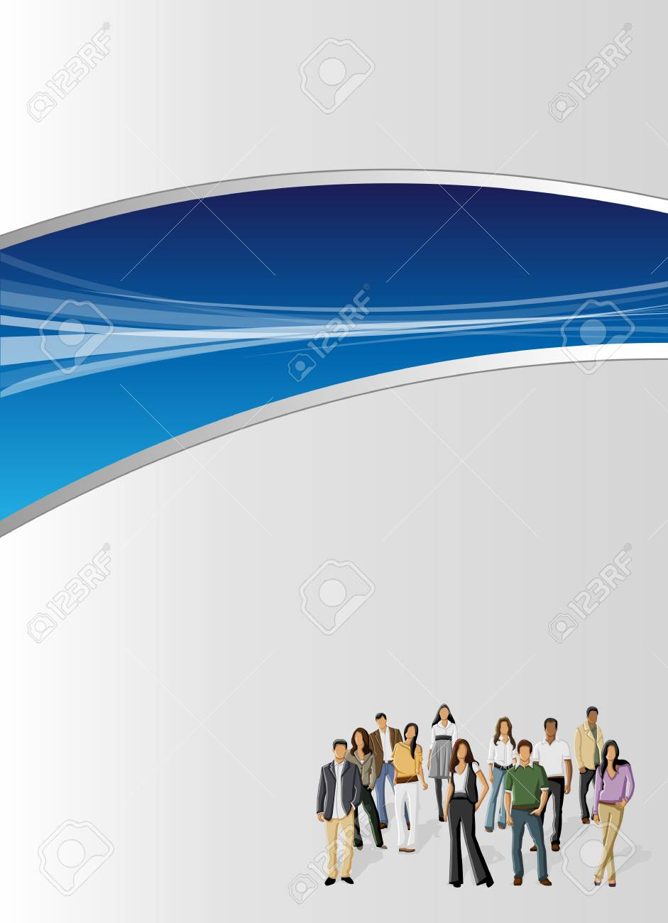 Blue template for advertising brochure with business people Stock Vector - 16936138