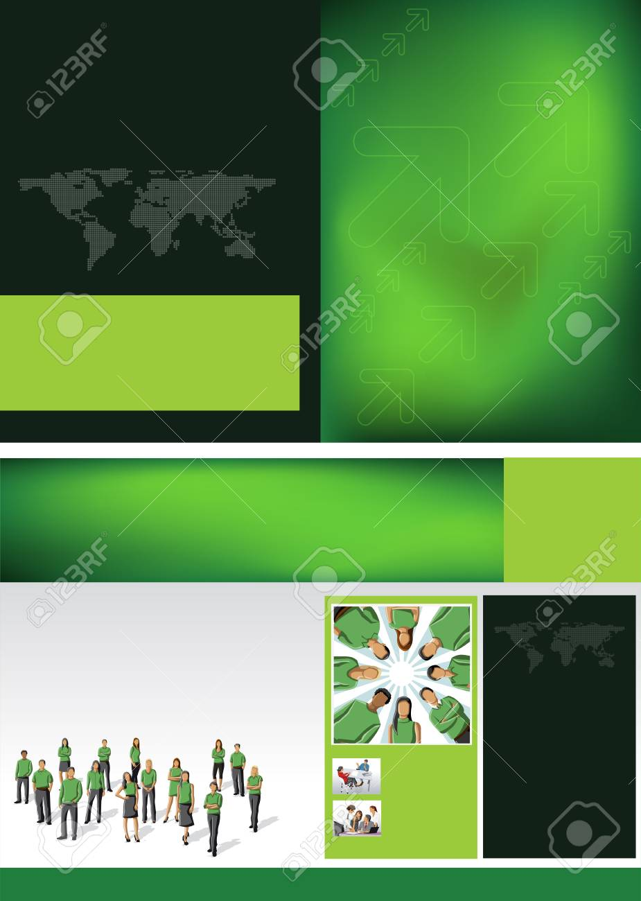 Green template for advertising brochure with business people Stock Vector - 16936069
