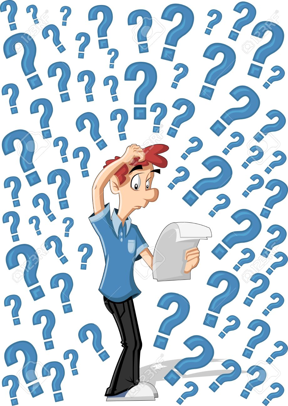 confused cartoon man surrounded by question marks royalty free