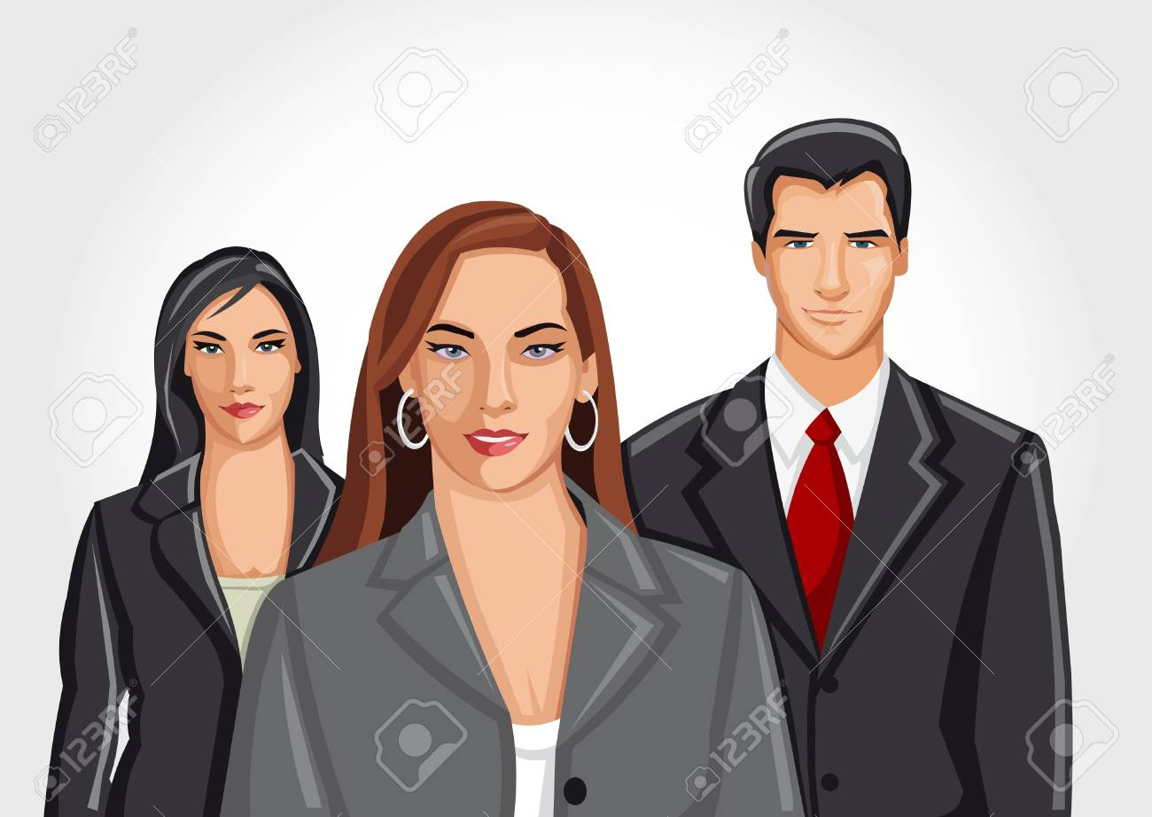 Template with a group of business and office people Stock Vector - 18031932