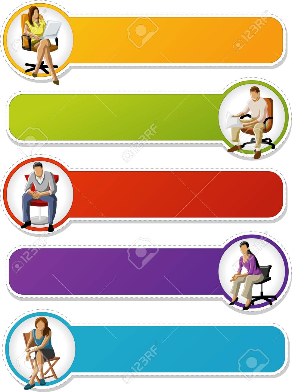 Colorful labels   tags with business people on chairs Stock Vector - 18031981