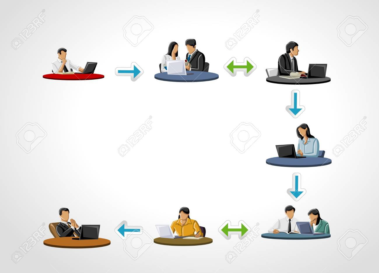 Template for advertising brochure with business people on work process Stock Vector - 18031949