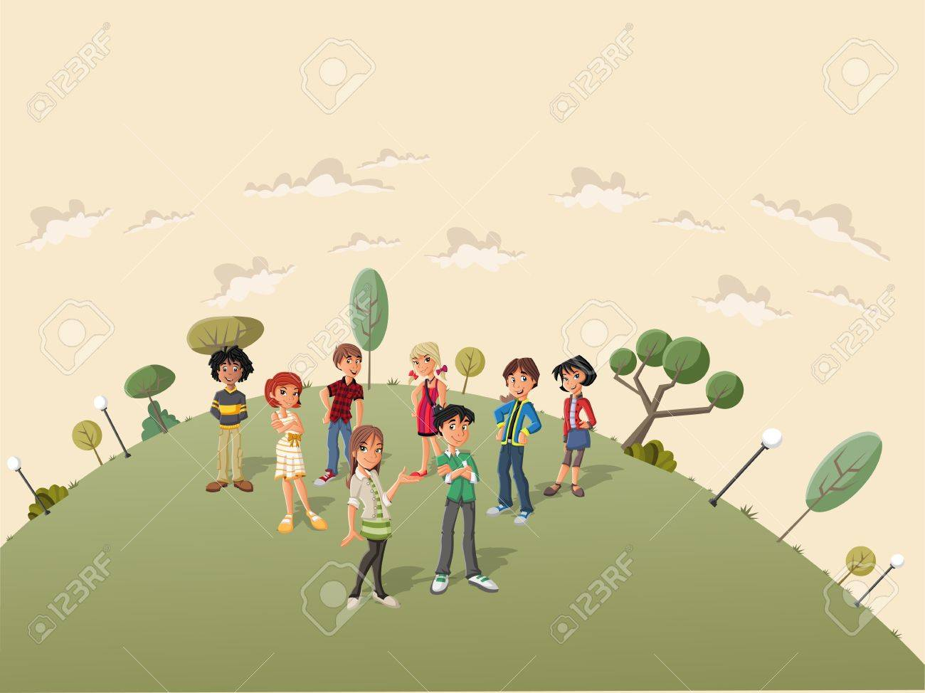 Teenager students in the street of a retro suburb park Stock Vector - 18452407