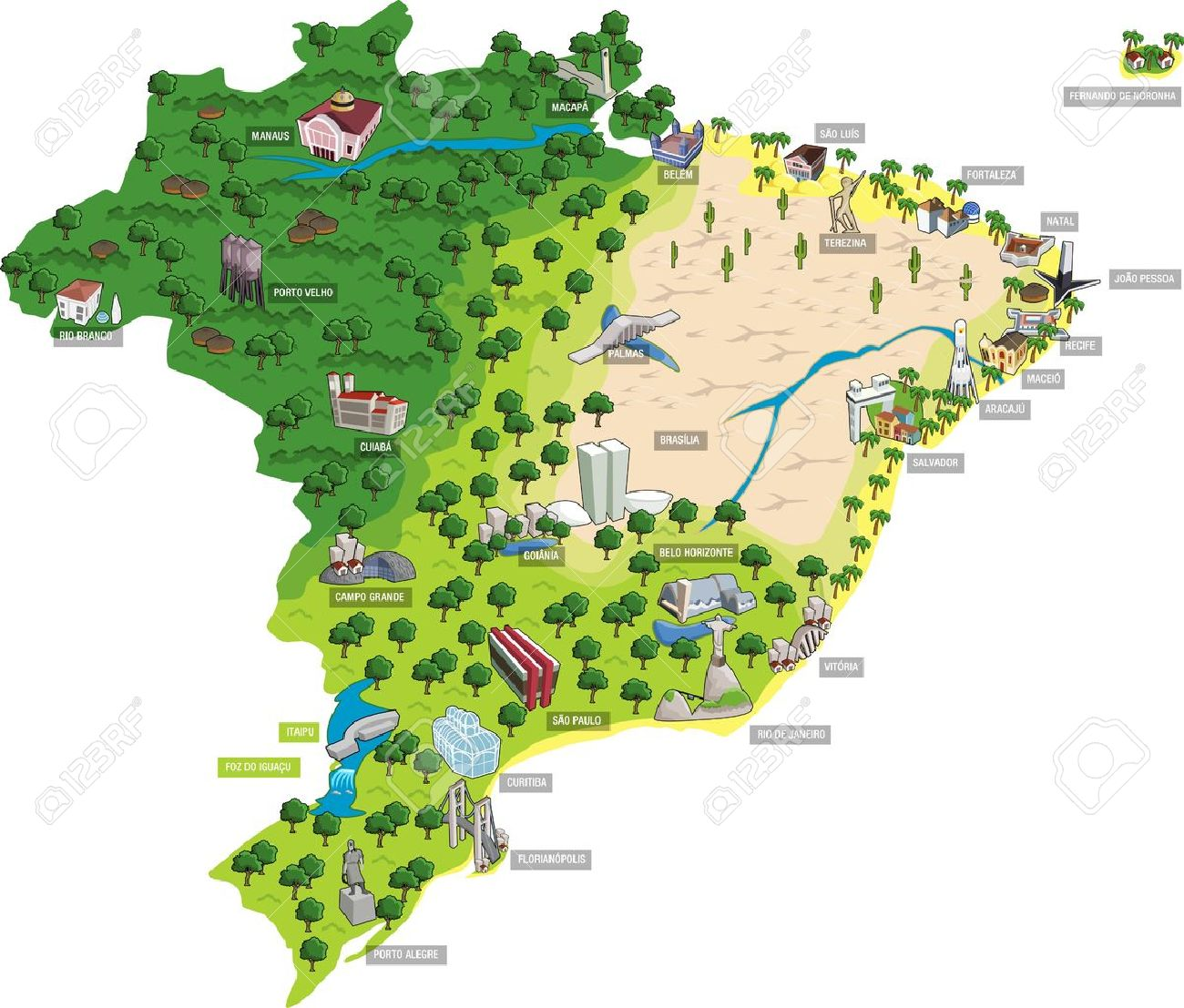 Map Of Brazil With All Capitals Cities Of Brazil Royalty Free