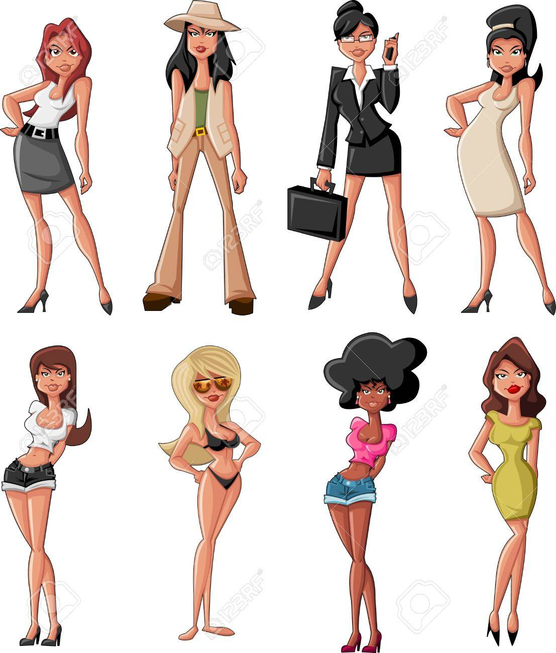 Set Of Beautiful Sexy Cartoon Girls Royalty Free Cliparts, Vectors ...