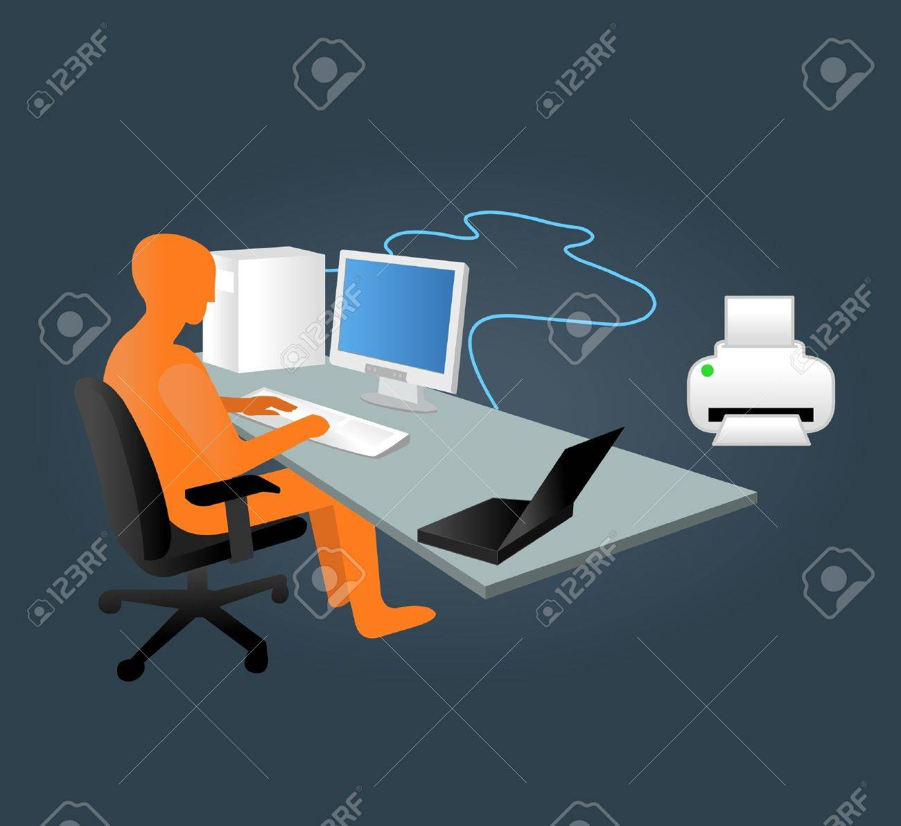 Template with business man working on computer in office Stock Vector - 19167729