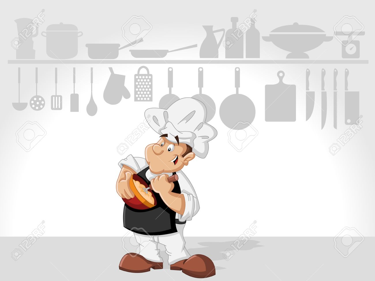 Restaurant Kitchen Illustration chef man cooking delicious meal in restaurant kitchen. gourmet