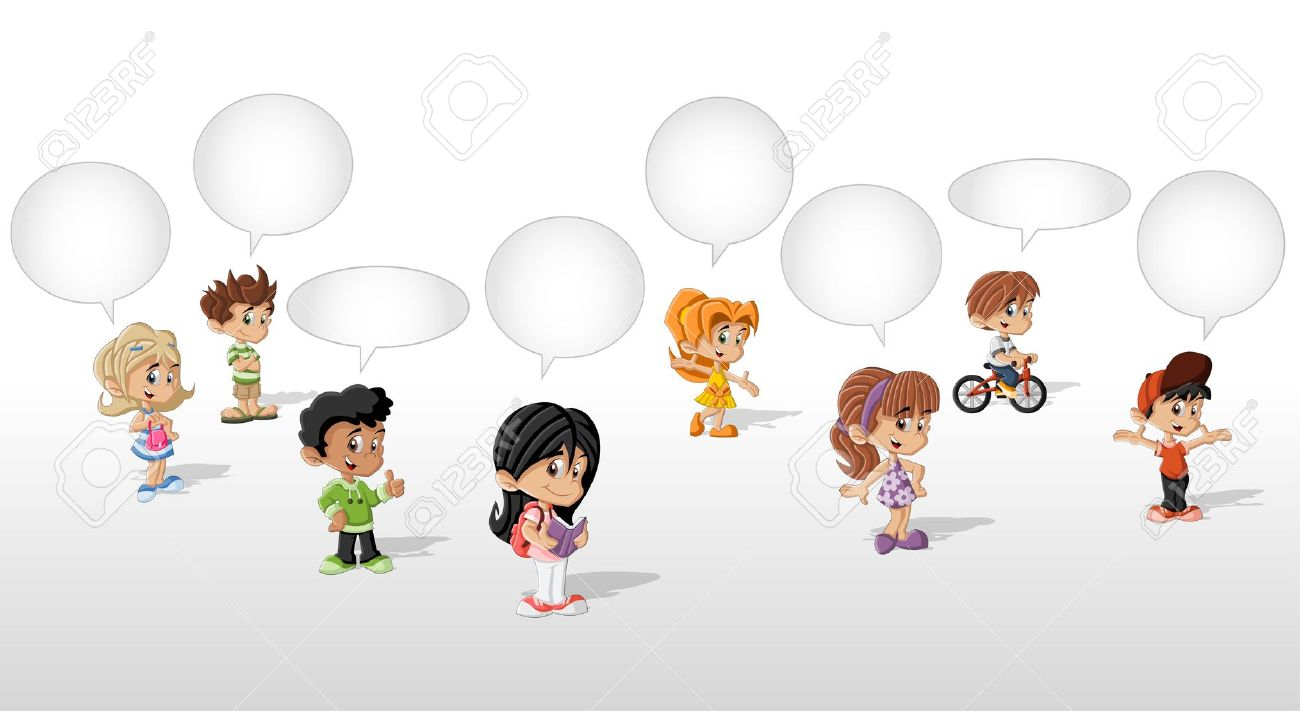 Cartoon children talking with speech balloon Stock Vector - 21812797