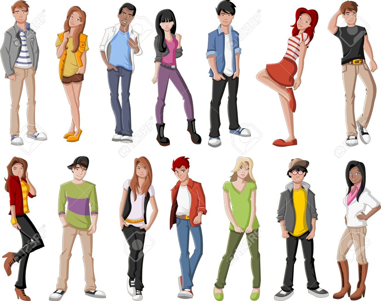 Group of fashion cartoon young people Stock Vector - 21812904