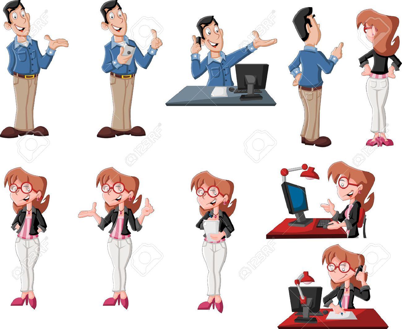 Feliz Pareja De Dibujos Animados En Diversas Actitudes De Trabajo ...