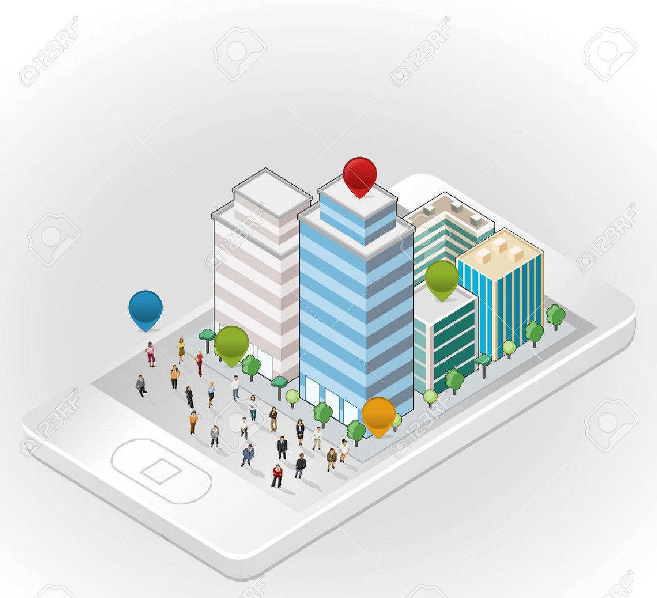 Template with business people in the street of a isometric city over smart phone Stock Vector - 22610189