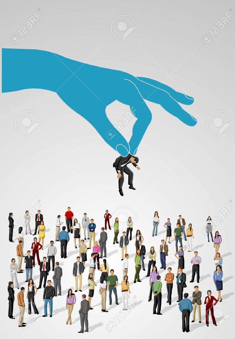 Choosing the right person on a group of business people Hiring selection - 22610196
