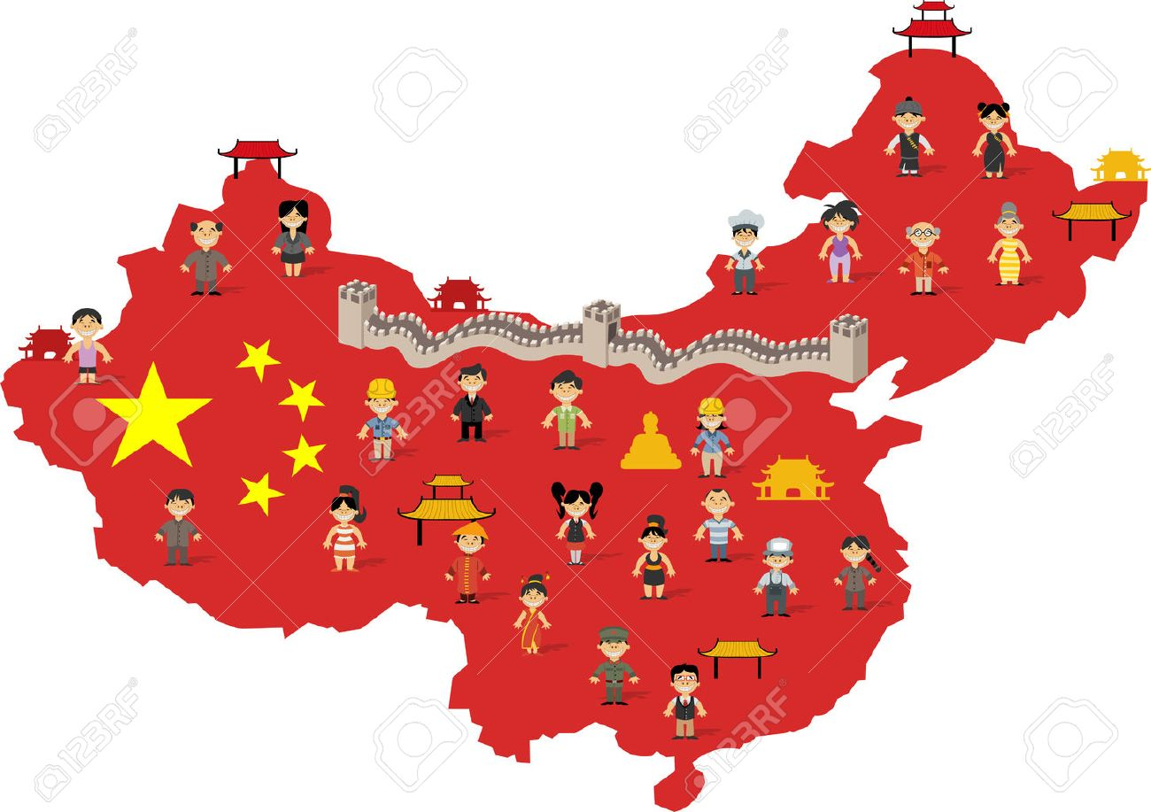 china China map with chinese happy cartoon people Stock Vector - 33211310