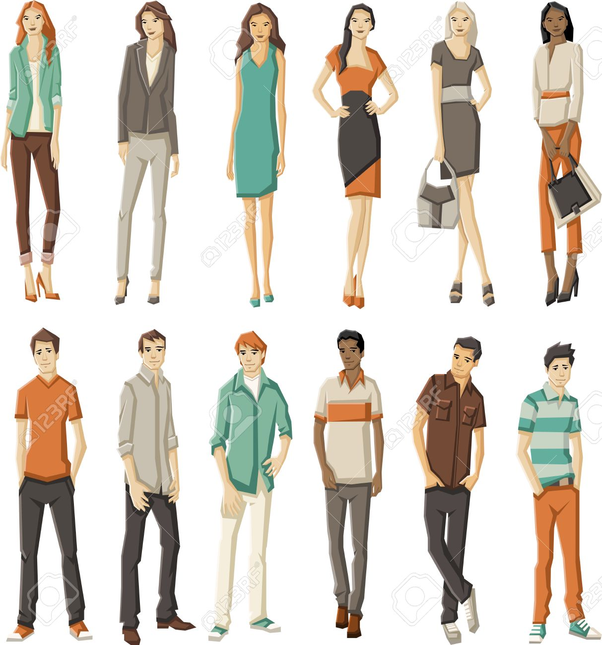 Group of fashion cartoon young people - 33211258
