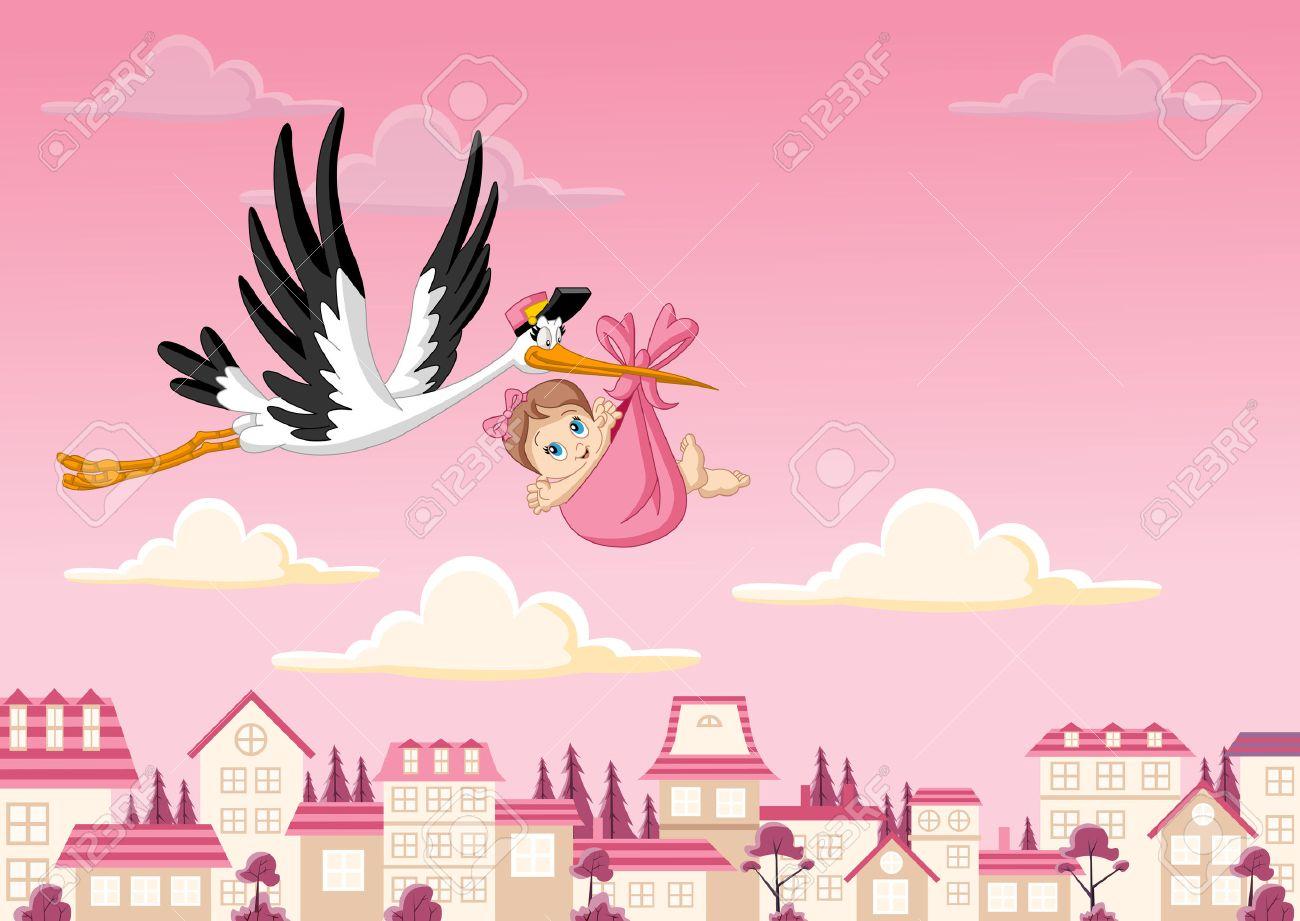 Cartoon stork delivering a newborn baby girl - 40324148