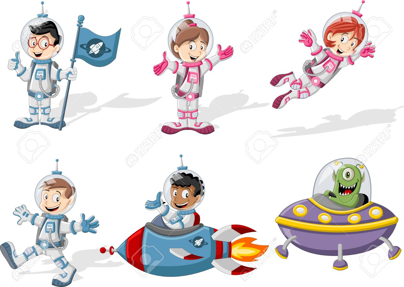 astronaut cartoon characters in outer space suit with the alien