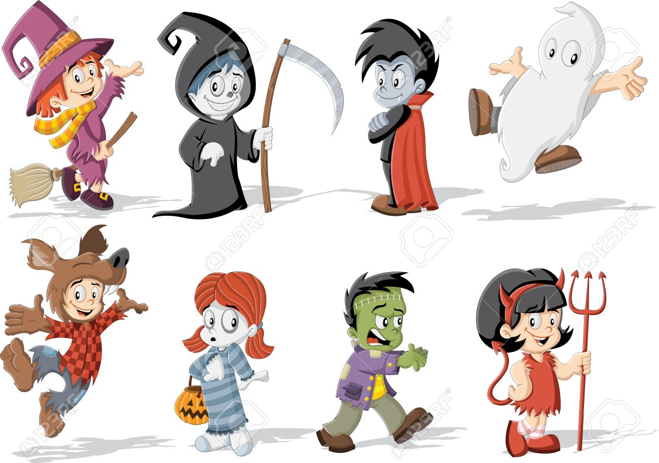 Cartoon Children Wearing Costumes Of Classic Halloween Monster ...