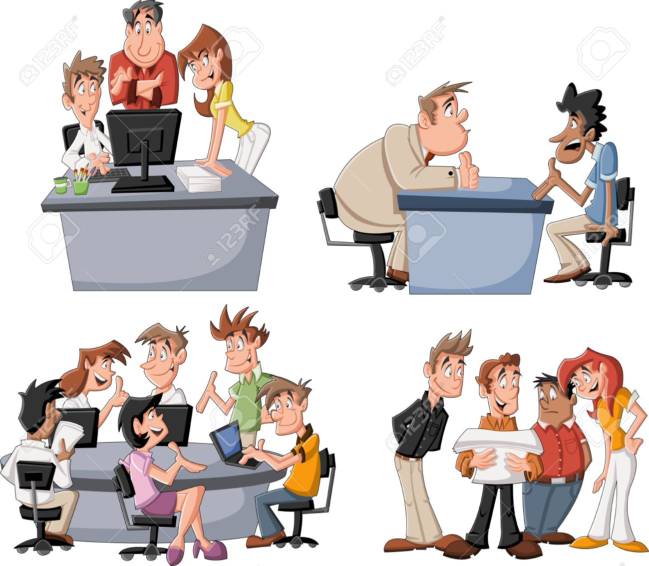 Happy cartoon business people working on office - 52828910