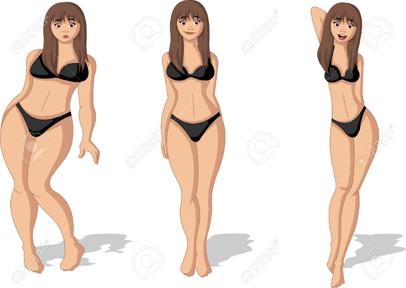 Fat and slim woman figure. Woman before and after weight loss. - 52829709
