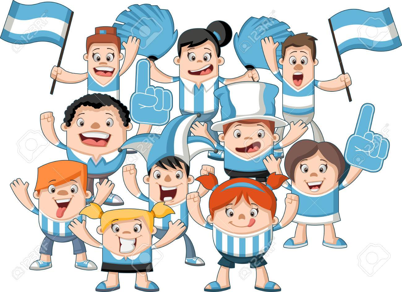 sports fans cheering clipart. group of cartoon sport fans and supporters cheering stock vector - 55479715 sports clipart o