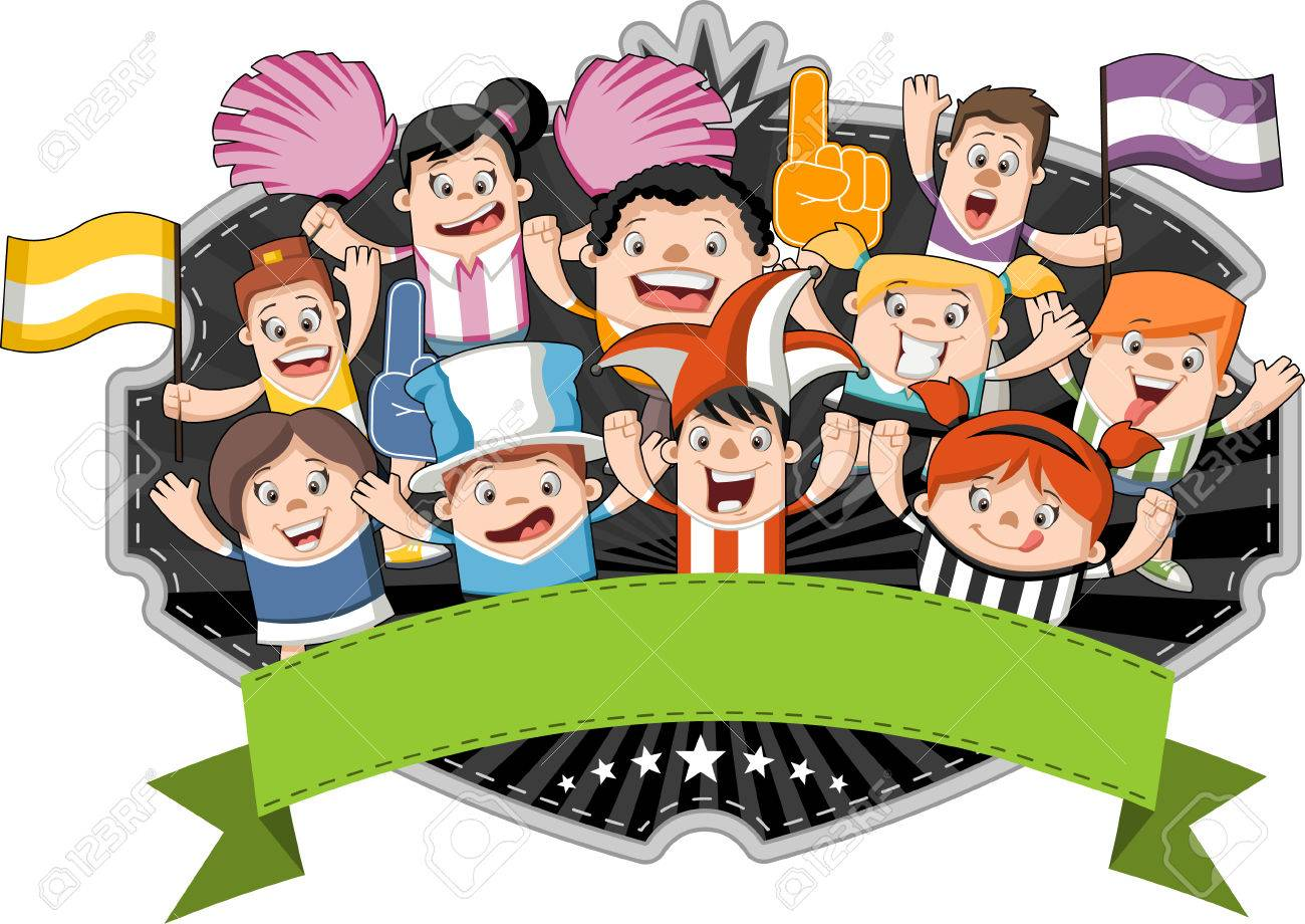 Group of cartoon sport fans and supporters cheering - 55479721