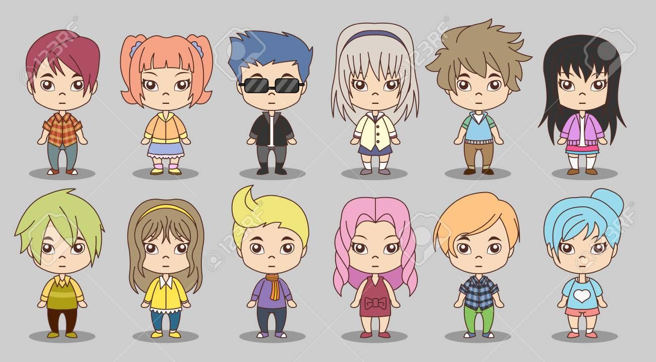 Group of cartoon children. Manga anime teenagers. - 56065031
