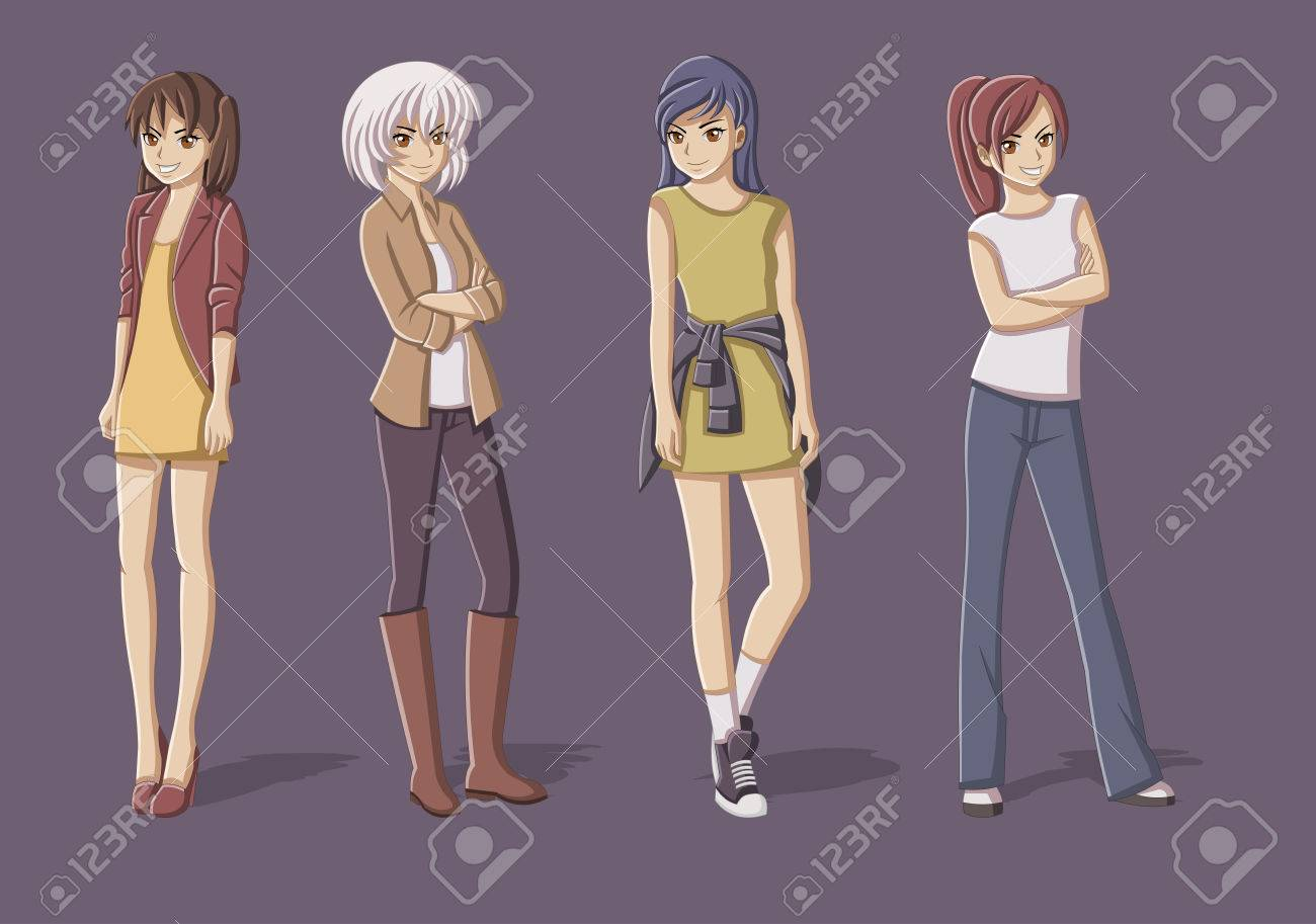 Grupo De Chicas Jóvenes De Dibujos Animados. Adolescentes Manga ...