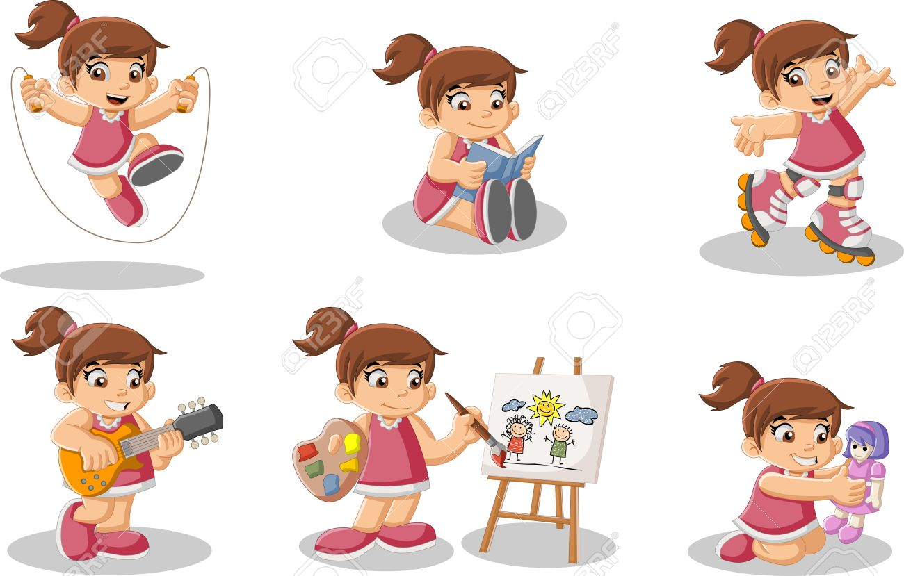 Cute Happy Cartoon Girl Playing Sports And Toys Royalty Free