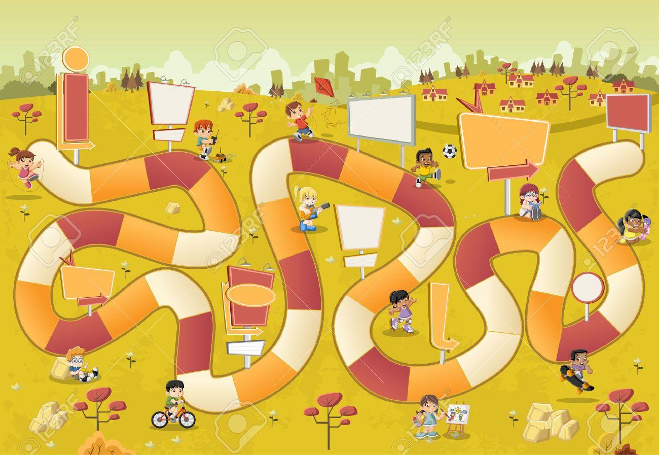 Parque De Dibujos Animados Colorido Con Los Ninos Jugando En Un