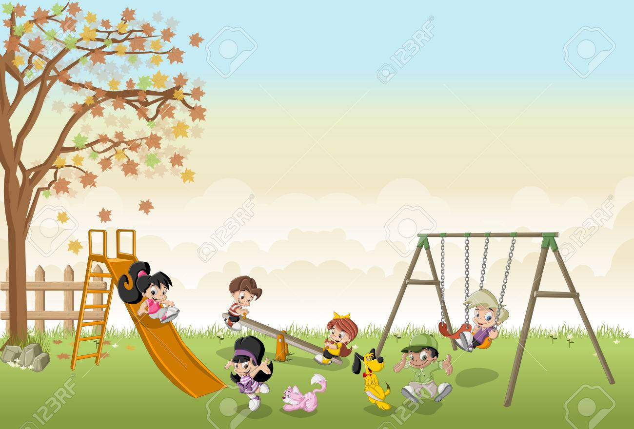 cute happy cartoon kids playing in the playground on the backyard