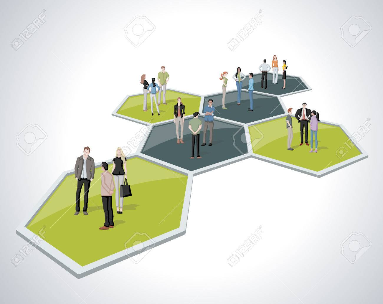Business people connected over bee hive blocks - 58503839
