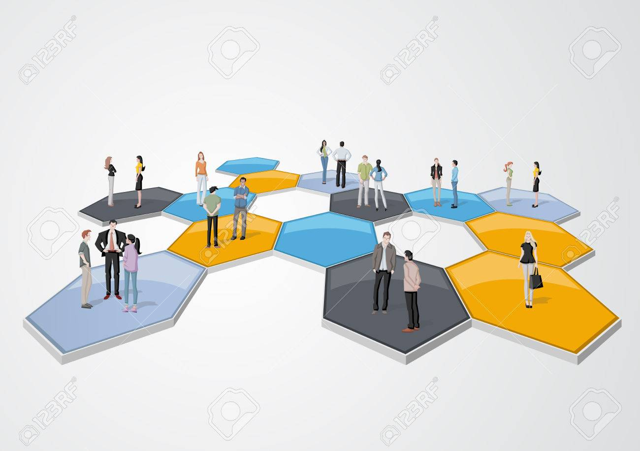 Business people connected over bee hive blocks - 58503846