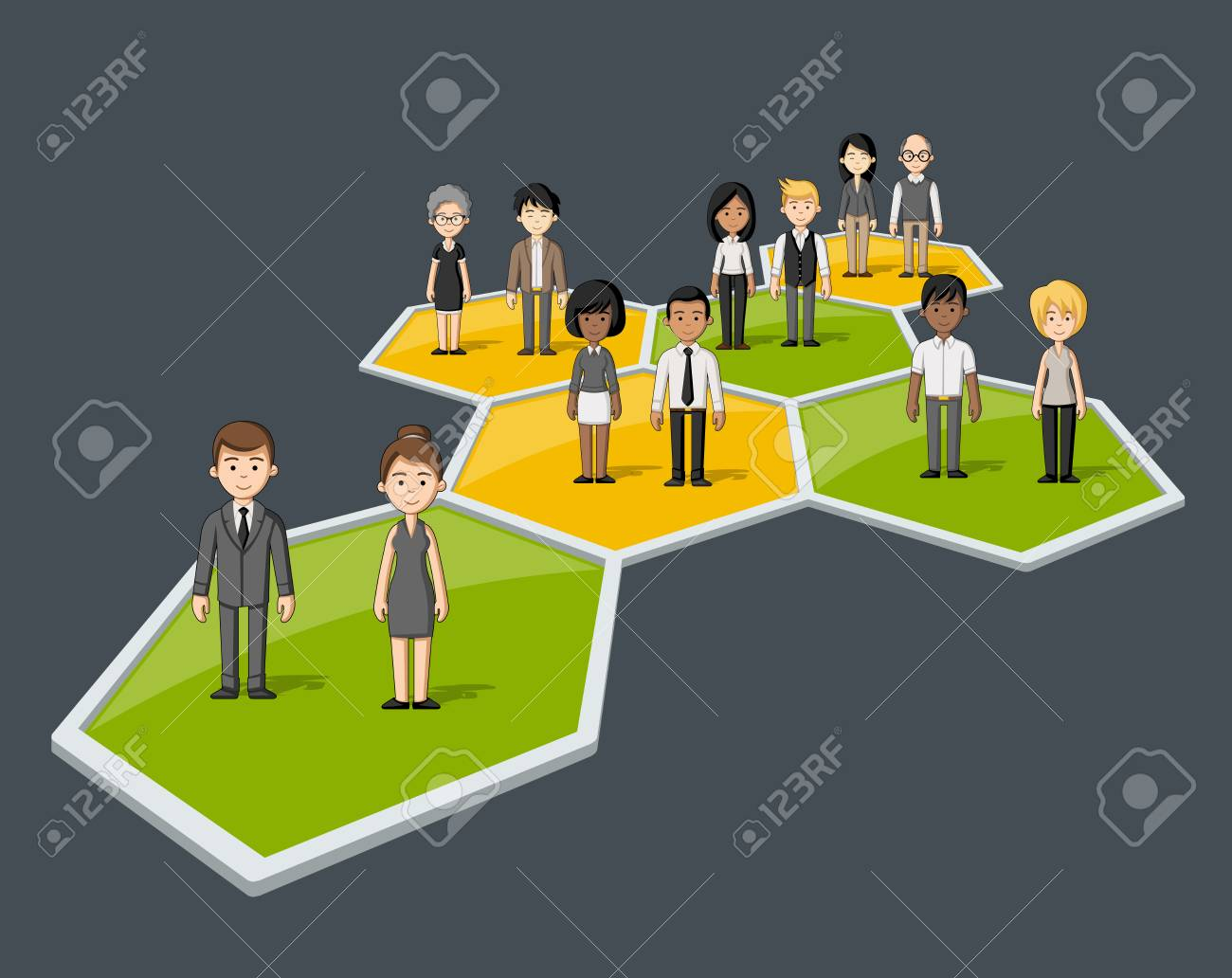 Business people connected over bee hive blocks - 58503911