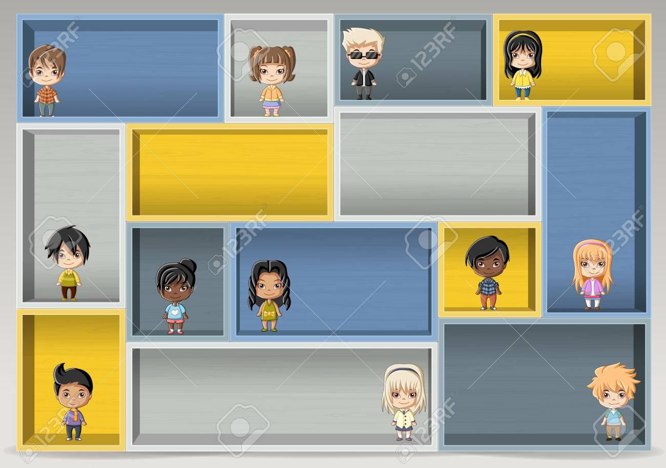 Colorful wood shelf with happy cartoon children. Design element background. - 58516653