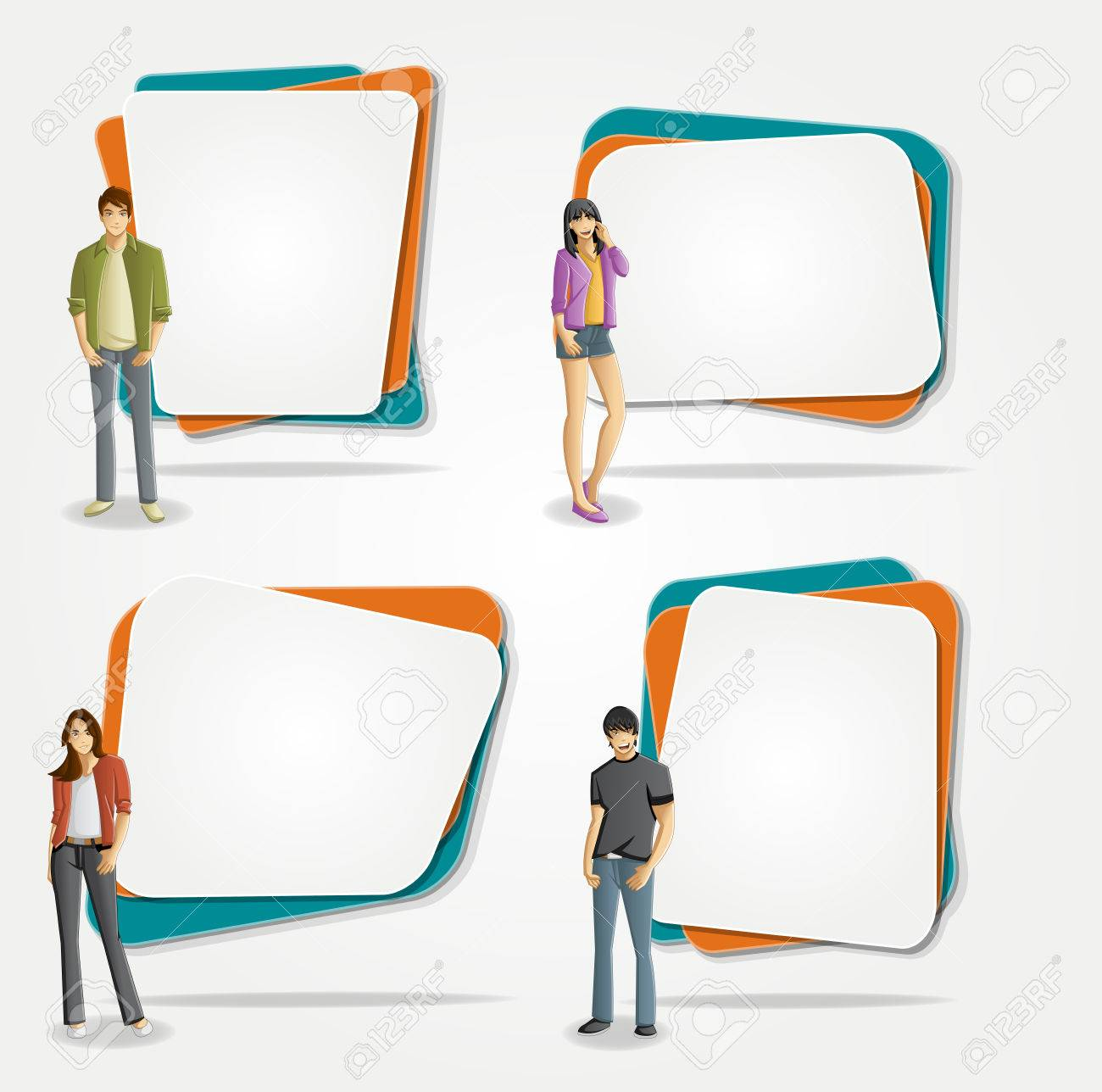 Vector banners / backgrounds with cartoon young people. Design text box frames. Manga anime teenagers. - 58793842