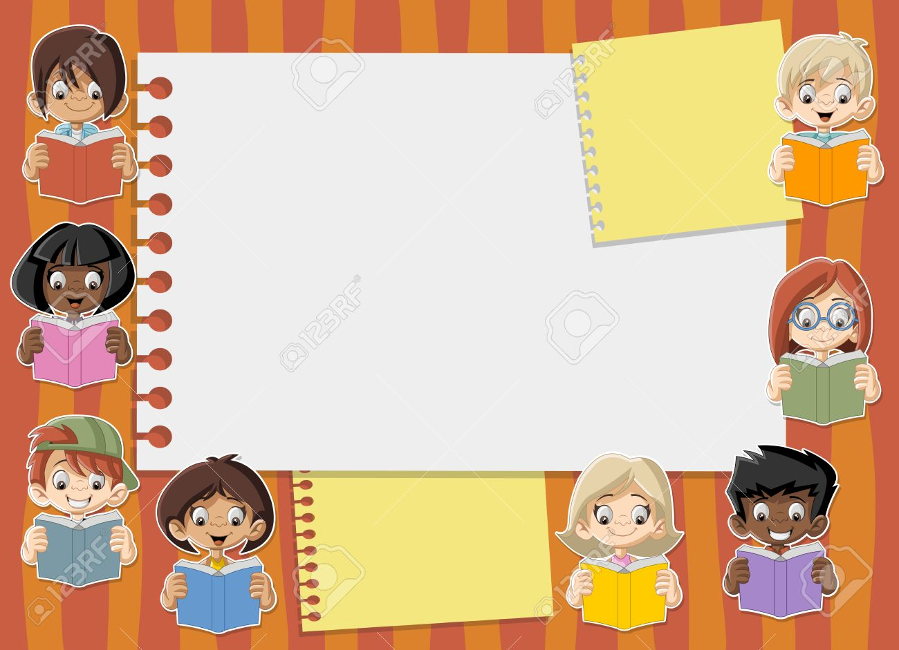 Plantilla Con Los Niños De Dibujos Animados Estudiante La Lectura De ...