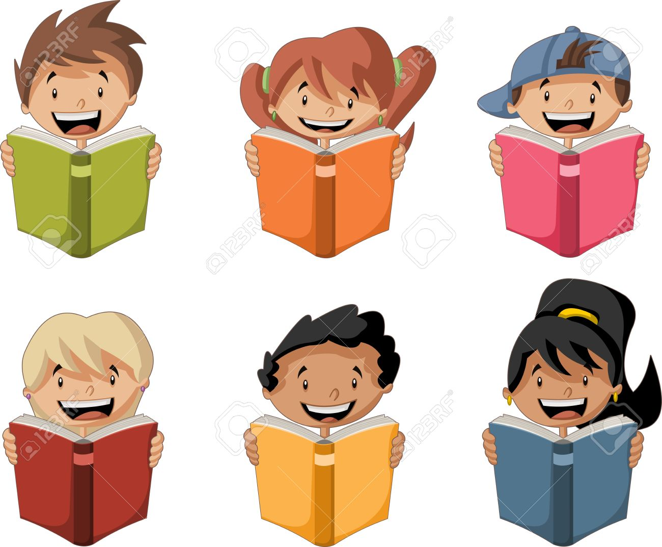 Cute Cartoon Children Reading Books Students Royalty Free Cliparts